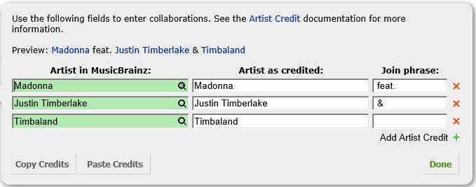 Artist Credits - MusicBrainz